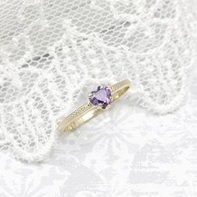 10kt Heart Shaped Birthstone Ring
