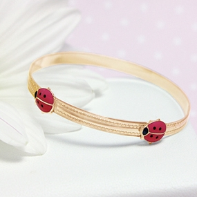 Gold Filled Red Ladybug Bangle Bracelet