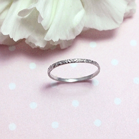 14kt Etched White Gold Ring