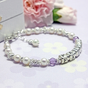 Pearls and Birthstone Name Bracelets