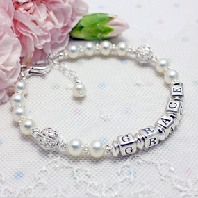 Pearls & Silver Lace Name Bracelets