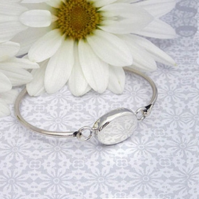Oval Engraved Silver Bangle Bracelet