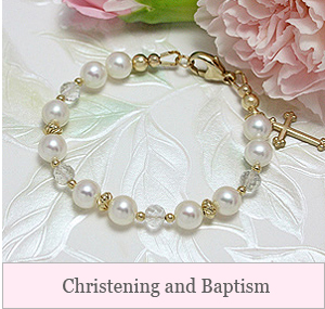 Our Christening and Baptism jewelry includes gorgeous bracelets, Cross pendants and lockets, pearl necklaces, and heirloom engraving. Special jewelry for your special occasion!
