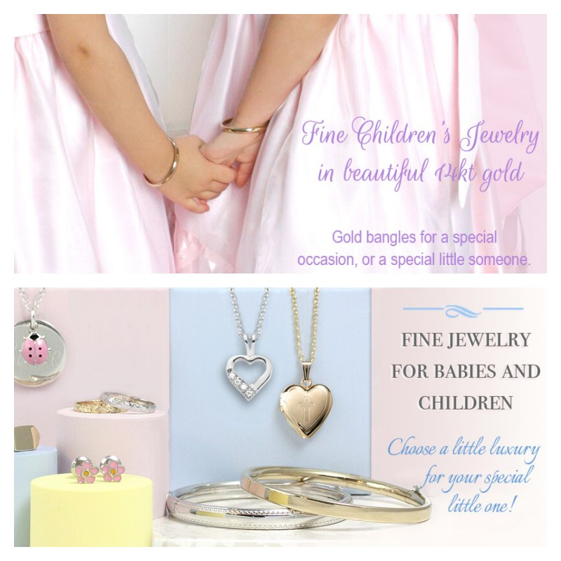 Fine bangle bracelets for babies and children in 14kt gold. Beautiful bangles for a special occasion or for a special little one.Fine jewelry for babies and children in sterling and 14kt gold. Baby bracelets and rings, baby earrings, and quality crafted bangle bracelets.